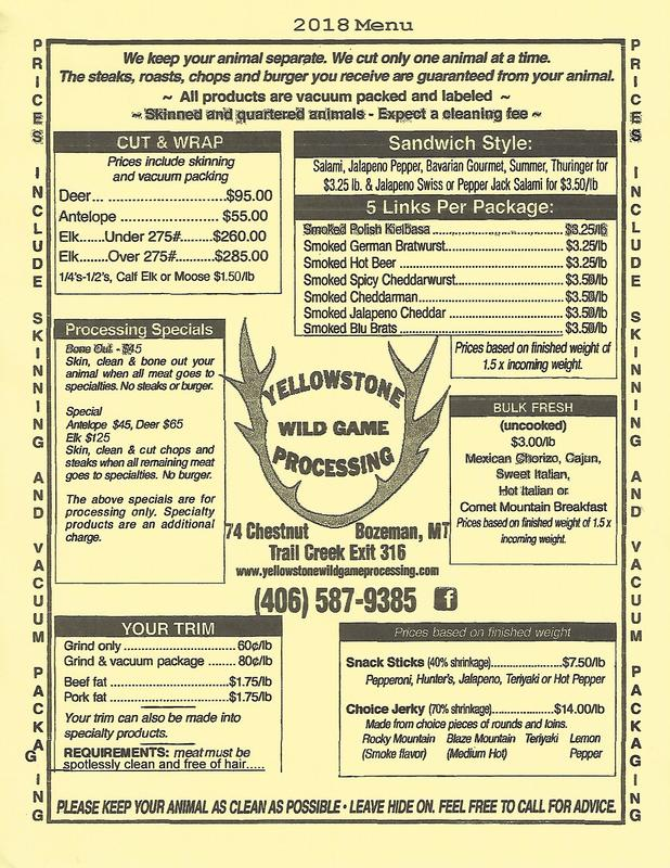 menu and pricing flyer yellowstone wild game processing